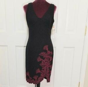 MAGGY LONDON Embroidered Hem Dress